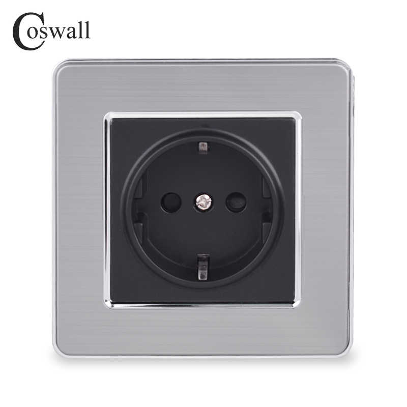Coswall 16A EU Standard Wall Socket Luxury Power Outlet Stainless Steel Brushed Panel Grounded With Children Protective Door