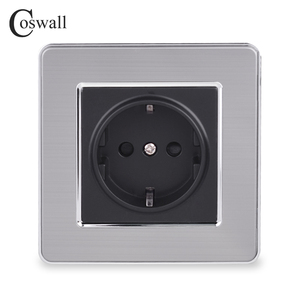 Coswall 16A EU Standard Wall Socket Luxury Power Outlet Stainless Steel Brushed Panel Grounded With Children Protective Door()