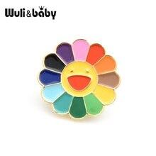 Wuli&baby Multicolor Sun Flower Collar Pins Women 2019 Korean Popular Lovely Brooch Gifts