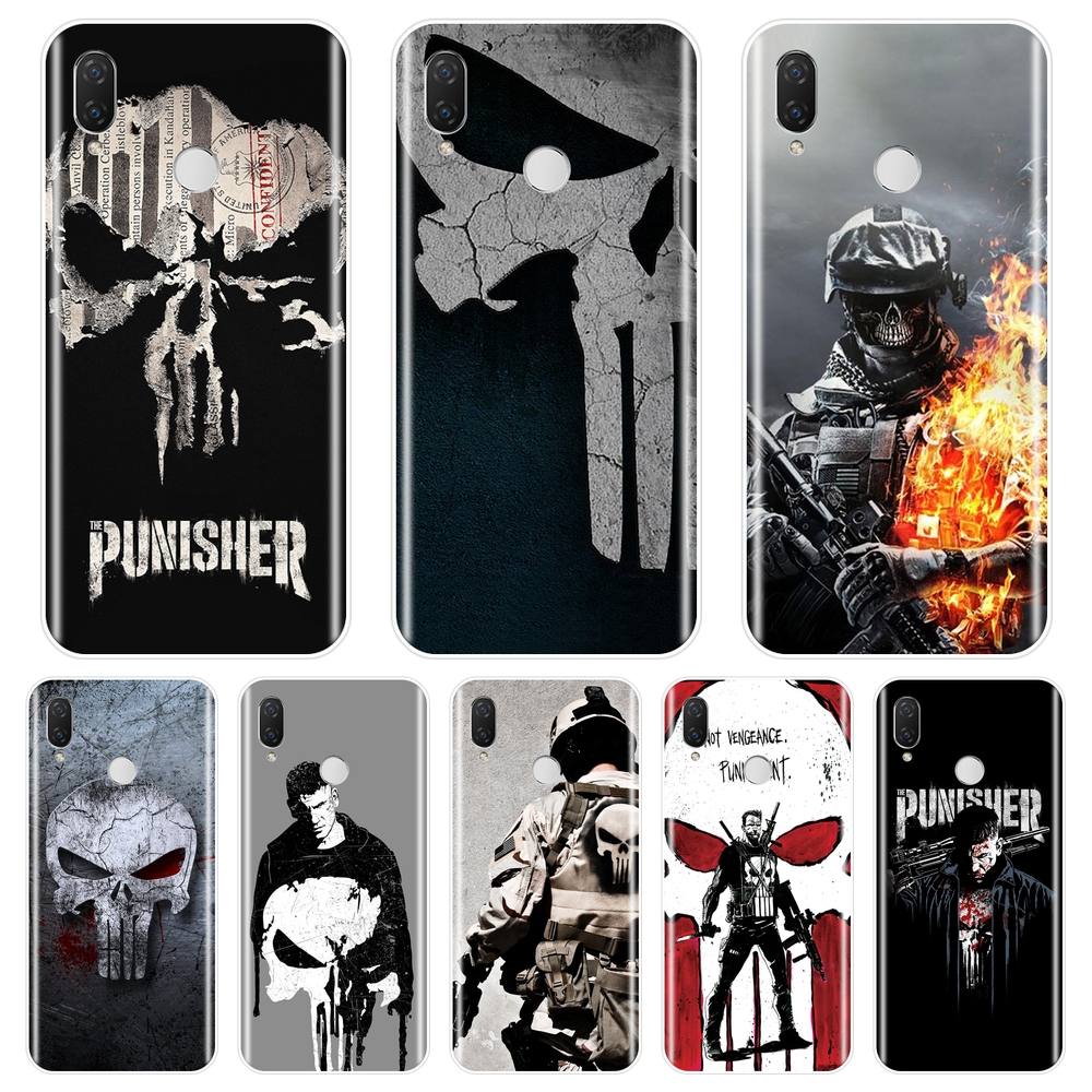The Punisher Men Soft Silicone Phone Case For Huawei Nova 3 3i 3E 2i 2 Lite Plus Back Cover For Huawei Nova Smart Lite 2017 Case image