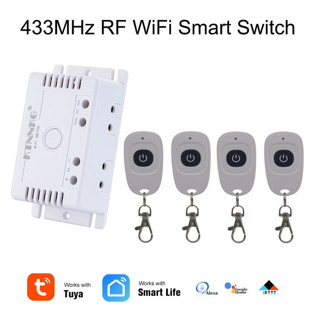 TUYA interruptor de césped de riego inteligente con Wi Fi, 1CH 24V DC 12V 36V 10A 433 Mhz receptor de relé remoto para control de voz DIY LED