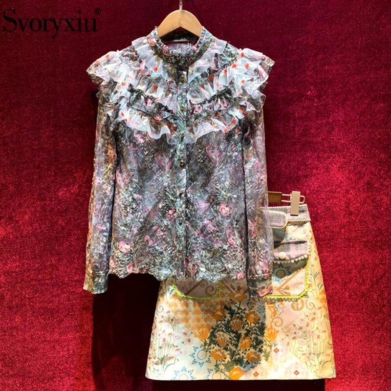 Svoryxiu Designer Autumn Vintage Skirt Suit Women's Long Sleeve Embroidery Ruffle Blouse + Print Skirt Fashion Two Piece Set