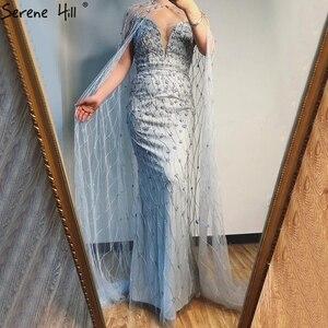 Image 3 - גריי בת ים שרוולים צעיף חוט ערב שמלות 2020 דובאי יוקרה ואגלי קריסטל פורמליות שמלת Serene היל LA70399