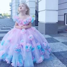 Красочное бальное платье с цветочным рисунком платья для девочек