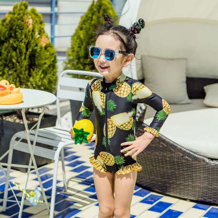 One-piece Swimsuit For Children GIRL'S Pineapple Big Boy Princess Lace Long Sleeve Sun-resistant Beach Holiday Tour Bathing Suit