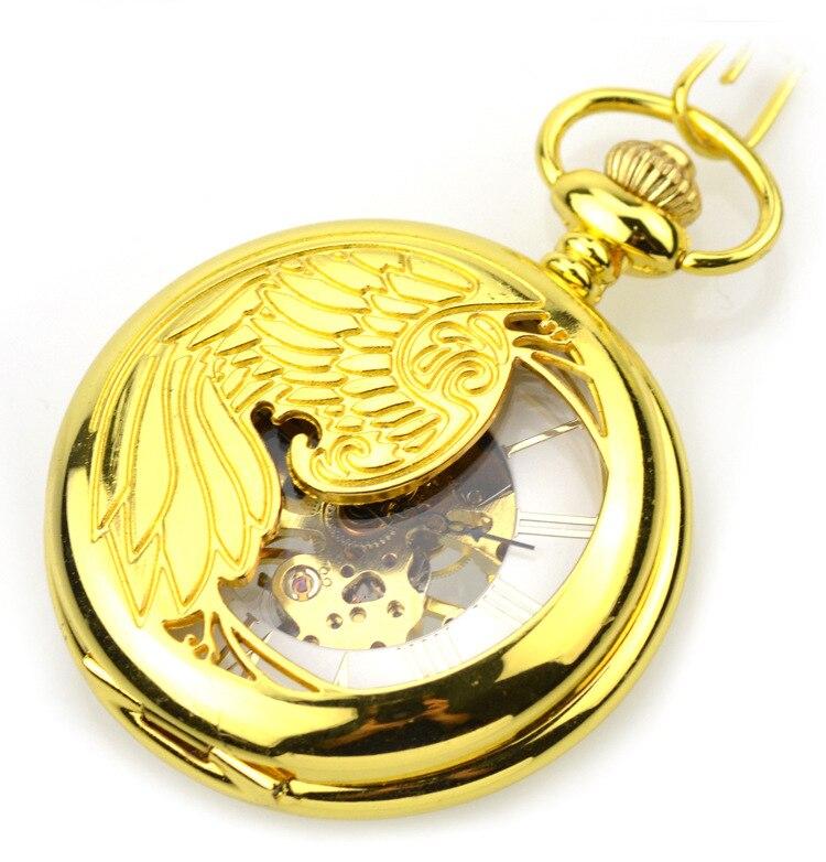 Golden Transparent Mechanical Hand Wind Pocket Watches Vintage Analog Skeleton Fob Watch For Men Women Gift
