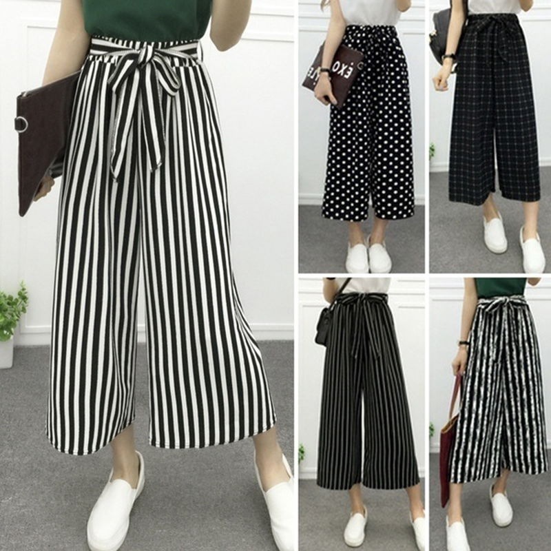 CHUQING Women's Fashion Wide Leg Long Casual Summer Flare High Waist Elastic Waist Striped Loose Culotte Trousers Cropped Pants