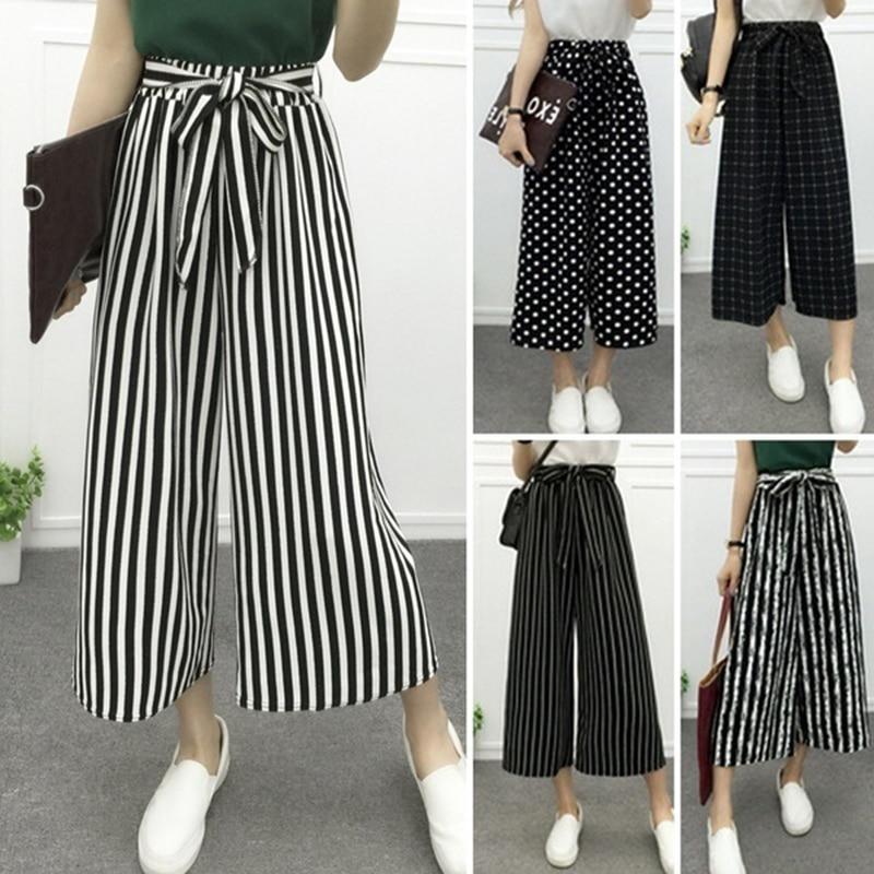 CHUQING Women's Fashion Wide Leg Long Casual Summer Flare High Waist Elastic Waist Striped Loose Culotte Trousers Cropped Pants