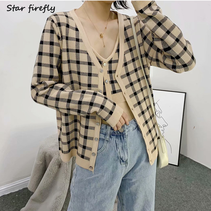 Star Firefly Ladies Vest Cardigan Set 2019 Autumn New Thin V-neck Plaid Vest Long-sleeved Plaid Cardigan Two-piece Suit