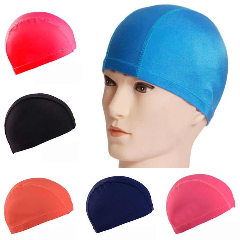 Unisex Elastic Swimming Caps Waterproof Nylon Fabric Hat Fast Dry Protect Ears Swimming Pool Bath Hat Non-slip Sportswear