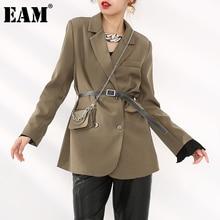 Bag Blazer Fit-Jacket Brown Women Spring Fashion New Lapel Autumn EAM Long-Sleeve Long-Sleeve