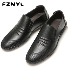 FZNYL Men Leather Peas Shoes Light Breathable Casual Flat Footwear Wild Soft Bottom Driving Scarpa Simple Business Ankle Zapatos