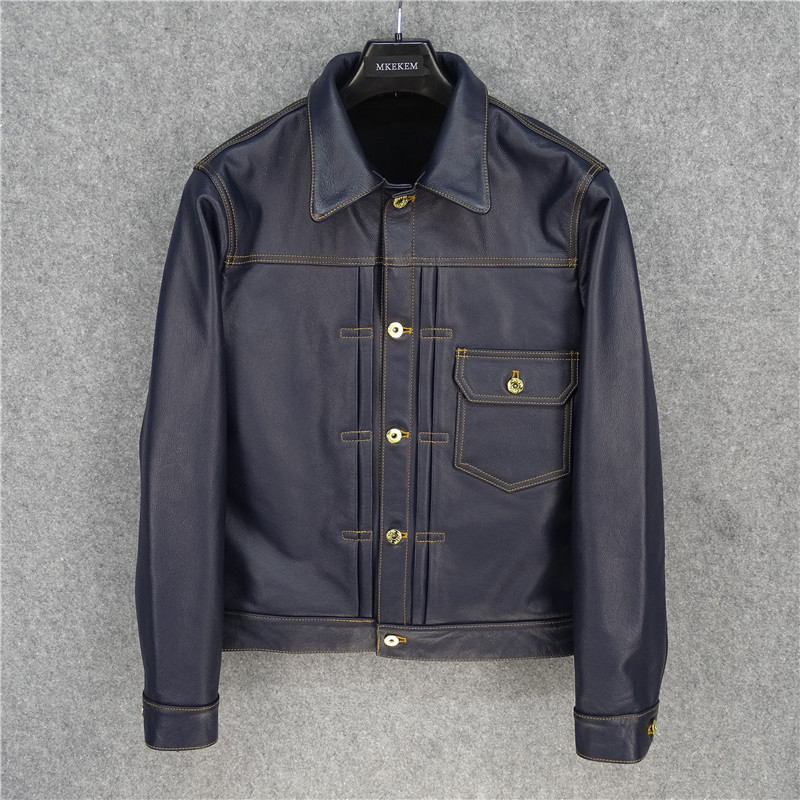 Free Shipping,Japan Style.Classic Casual 506XX Slim Genuine Leather Jacket.100% Soft Cowhide Coat,quality Fashion Outwear
