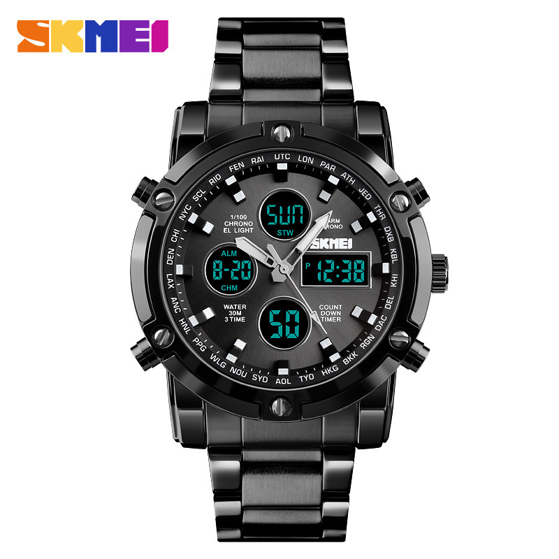 <font><b>Skmei</b></font> <font><b>1389</b></font> Fashionable Watch Multi-functional Three Time Business Men Electronic Steel Belt Watch image