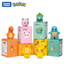 Genuine Pokemon 6 Models Pikachu Charmander Psyduck Squirtle Jigglypuff Bulbasaur Anime Figures Toys Dolls Kids Gift With Box