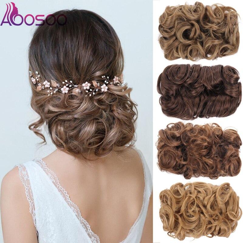 AOOSOO, пучок волос, кудрявый шиньон, синтетический шиньон для женщин, гребни для волос, зажим для наращивания волос, аксессуары для волос