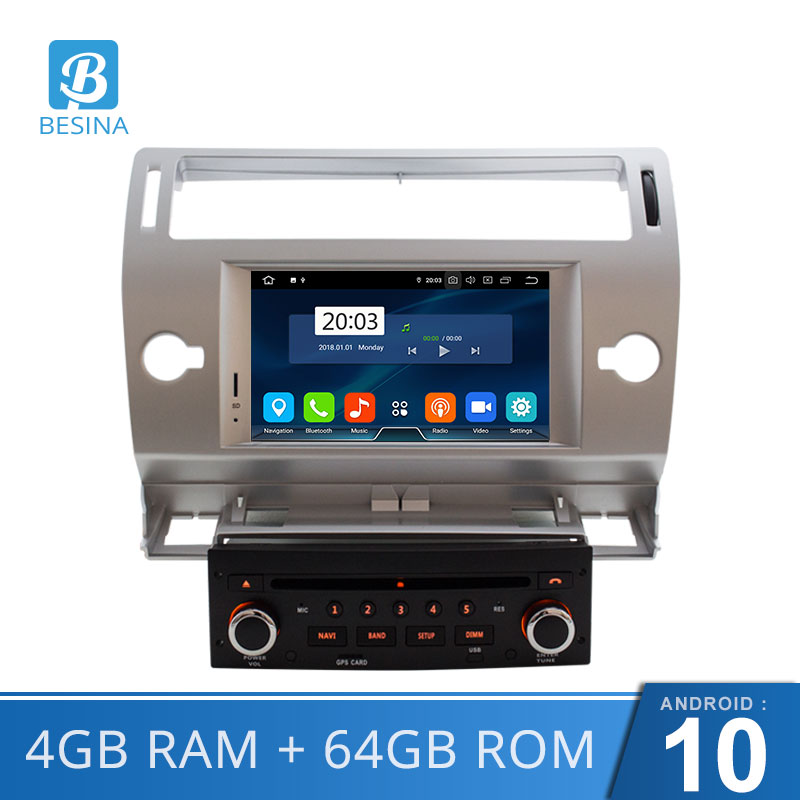 Besina Android 10.0 car DVD Player For Citroen C4 Quatre Triumph Multimedia GPS Navigation WIFI Octa Cores 4GB 1 Din Car Radio image
