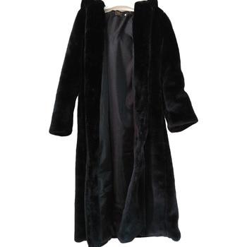 Abrigo largo de piel sintéctica, abrigo grueso de invierno, blanco, con cordones,...