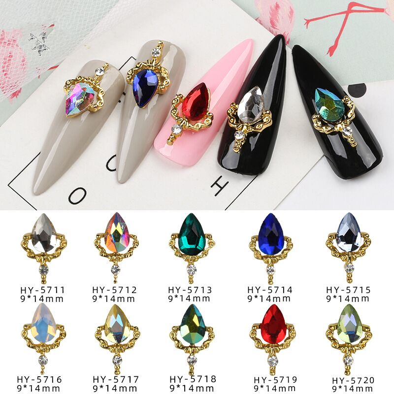 20pcs Charm Crystal 3D Nail Art Decorations Alloy Pendant Diamond Rhinestones Water Drop Design Jewelry Manicure Accessories