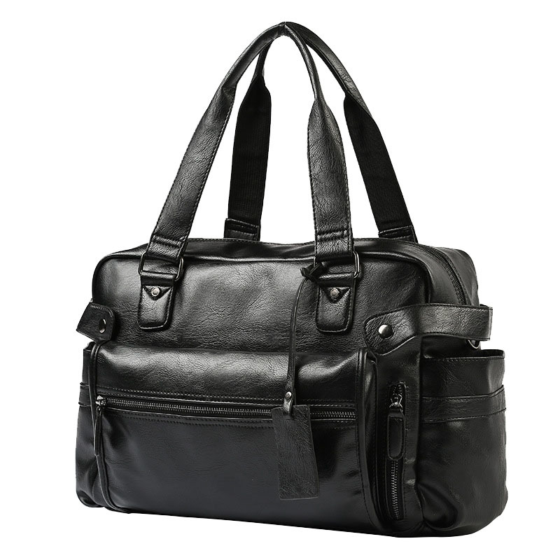 Men'S Briefcase Messenger Shoulder Bags Large Capacity Handbag Business High Quality Leather Computer Bags Laptop Multifunction