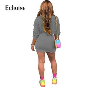 Image 3 - אופנה סתיו חורף סוודר שתי חתיכה להגדיר נשים ארוך שרוול סרוג יבול למעלה מיני חצאית מקרית חליפות Streetwear סטים תואמים