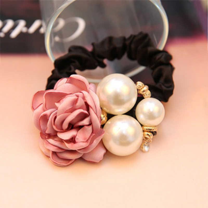 1 Pc Haar Accessoires Vrouwen Mode Stijl Grote Rose Bloem Parel Strass Haarbanden Elastische Haar Touw Ring 5 Kleuren voor Meisjes