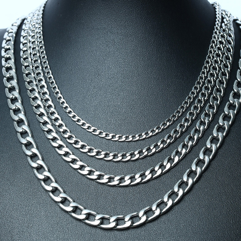 Modyle New Stylish Figaro Link Chain Necklaces for Men Solid Gold Silver Color Stainless Steel Hip Hop Male Jewelry
