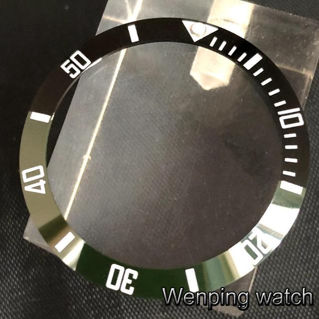 New 38mm high quality black/green ceramics bezel Insert fit 40mm watch