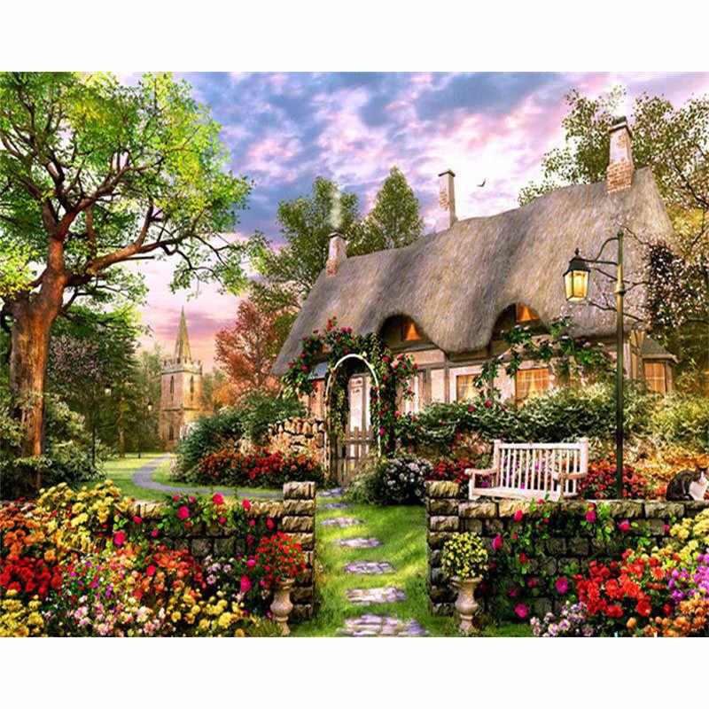DIY Daimond Lukisan Cottage-Taman 5D Daimond Bordir Persegi/Bulat Cross Stitch Rhinestones Dekorasi Rumah Hadiah M1094