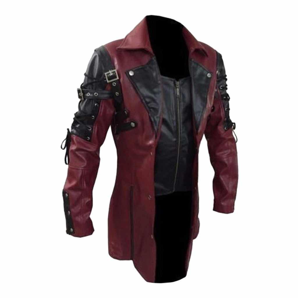 남성 가죽 자켓 겨울 방수 긴 가짜 모피 코트 남성 가죽 오토바이 자켓 의류 고딕 블랙 자켓 지퍼