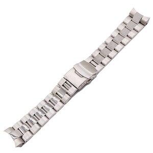 Image 1 - Rolamy 22mm כסף מוצק מעוקל סוף מוצק קישורים החלפת שעון Band רצועת צמיד כפול דחיפה עבור Seiko