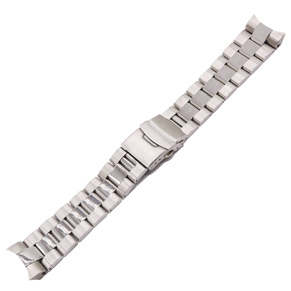 Rolamy 22mm Silver Solid Curved End Solid Links Replacement Watch Band Strap Bracelet Double Push Clasp For Seiko