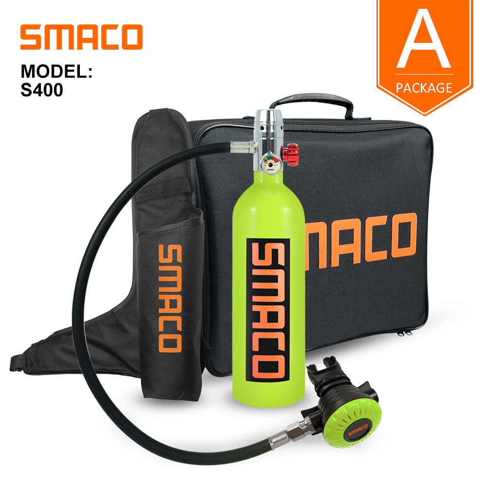 Smaco Scuba Diving Tank Equipment Mini Scuba Dive Cylinder Scuba Diving Oxygen Tank box Snorkel dive Tank S400 Set 1L