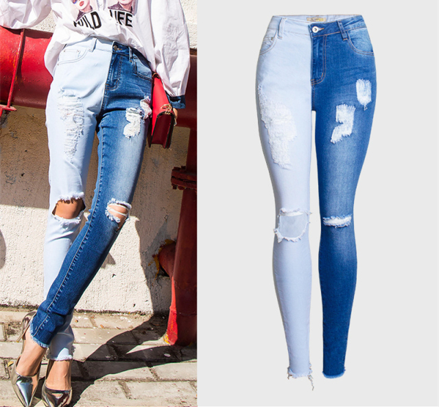 Skinny Jeans in half contrast colors