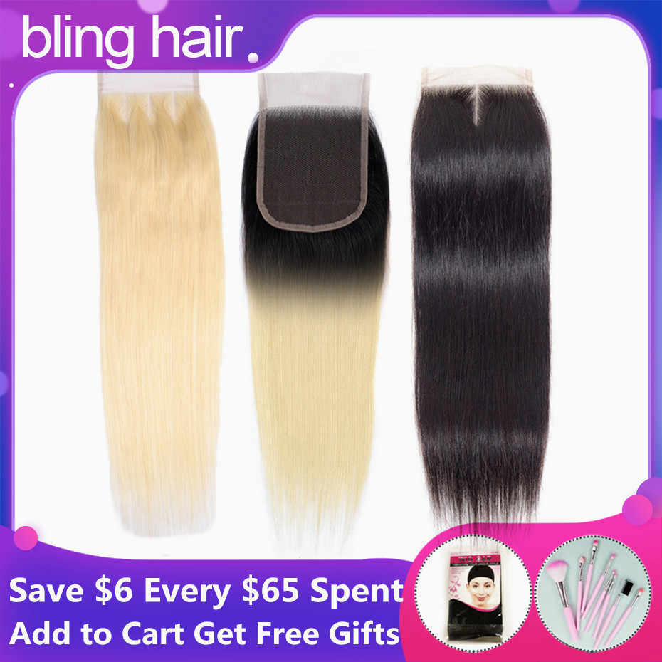 bling hair Blonde #613 Brazilian Straight Human Hair Closure 4*4 Free/middle/three Part Remy Lace Closure 1b/613 Natural Color