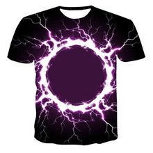 3D Lightning Flame Print T-shirt Short Sleeve T-shirt Fashionable and Handsome Men's Wear Men's O-neck T-shirt High Quality