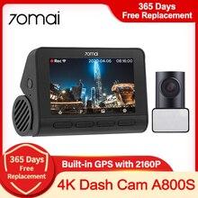 €100 Off €10, Code name: FRSEP10 70mai 4K A800S Dash Cam ADAS Real 4K Camera Car DVR GPS incorporato Dual Vision Record 24 ore di parcheggio registrazione visione notturna