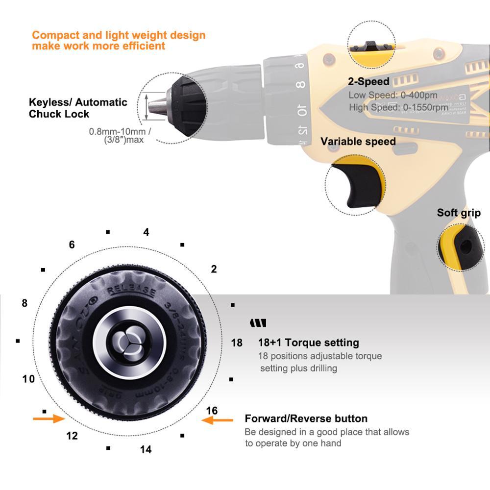 GOXAWEE 12V Elektrische Bohrer Akkuschrauber Mini Bohrer Lithium-Batterie Power Werkzeuge Akku-bohrschrauber Bohren Maschine 2-Geschwindigkeit