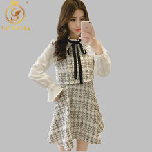 SMTHMA 2019 Winter Women Chic Elegant Women Runway Dress Bow Tie Stand Collar Tweed Dress Long Sleeve Patchwork Plaid Dress(China)