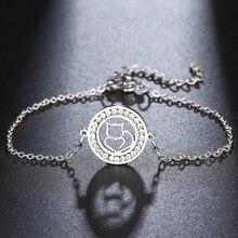 CACANA 316L браслет из нержавеющей стали для женщин с кристаллами полые линии Кот Круглые браслеты золотой цвет обручальные подарки Ювелирные и...