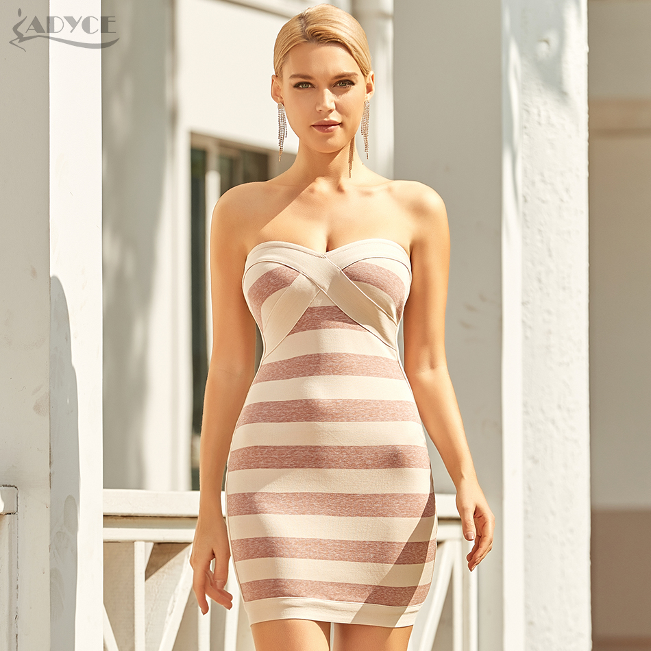 Adyce 2021 New Summer Women Striped Runway Bandage Dress Sexy Sleeveless Strapless Bodycon Club Celebrity Evening Party Dresses