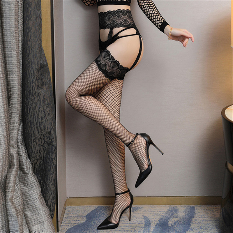 Ladies Open Crotch Mesh Pantyhose Erotic Lingerie Women's Hosiery Lace Fishnet Stockings See Through Over Knee Collant Femme