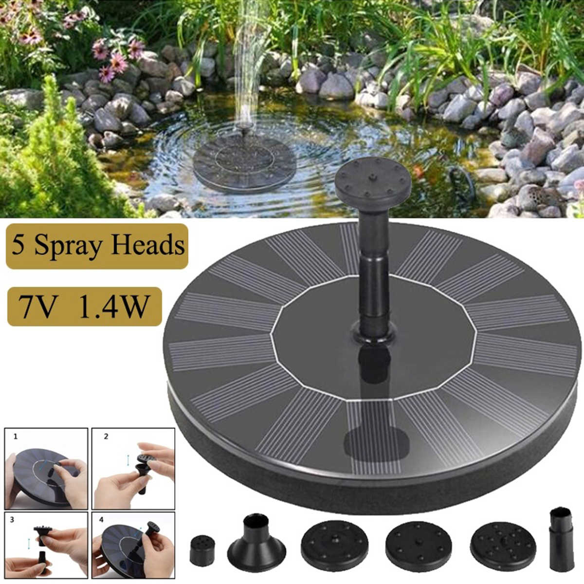 Solar Powered Water Pump Fountain Panel with 5 Nozzles for Garden Patio Pond