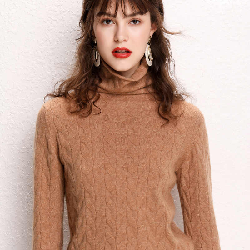 2019 Kasmir Sweater Wanita Berleher Tinggi Wanita Rajutan Turtleneck Musim Dingin Kasmir Sweater Wanita Sweater Hangat Wanita