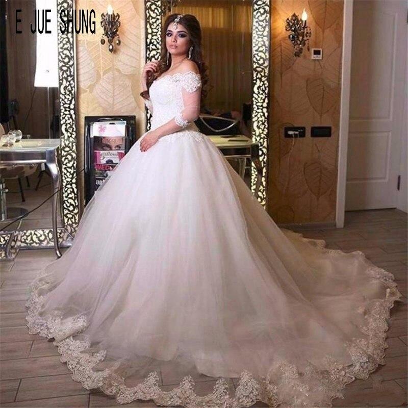 E JUE SHUNG Vintage Wedding Dresses Off The Shoulder Half Sleeves Lace Appliques Ball Gown Vestido De Noiva Robe De Mariage