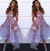 Lavender V Neck Tulle A Line Homecoming Dresses 2019 Arabic Lace Applique High Low Princess Short Prom Party Graduation Dresses