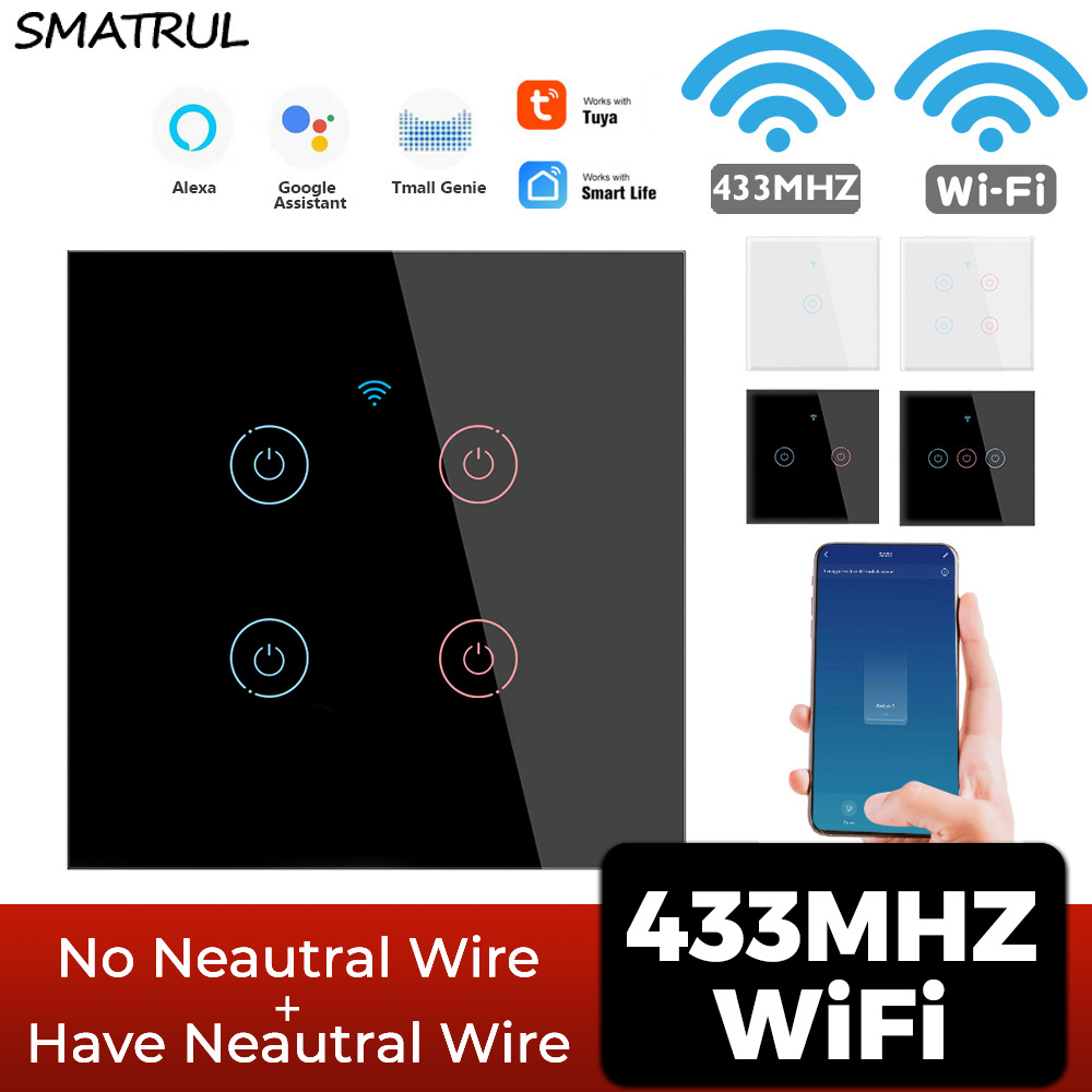 SMATRUL Tuya WiFi Smart Touch Wireless Switch Light RF 433MHz No Neutral Required Wall 1/2/3/4 Gang 220V For Google Home Alexa