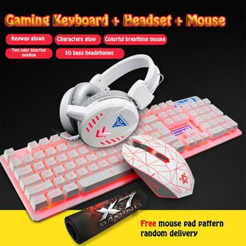 4Pcs/Set K59 Wired USB Keyboard Illuminated Gaming Mouse Pad Backlight Headset D08B