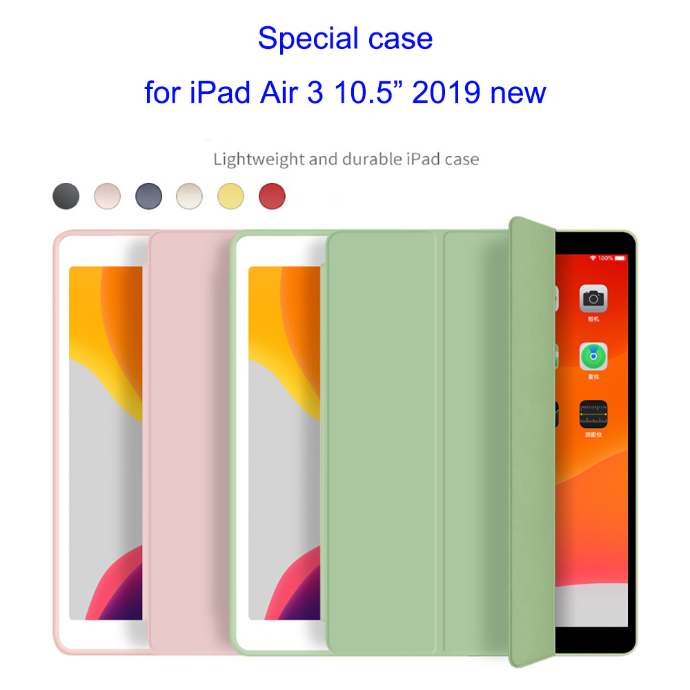 Soft Silicone Case For IPad Air 3 10.5 Inch 2019 New A2153 A2123 A2152 A2154 PU Smart Cover Auto Wake Funda Protective Shell