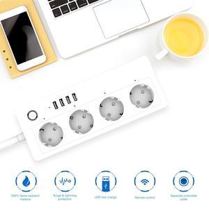 Image 4 - Wifi tira de energia inteligente protetor contra surtos 4 vias tomada tomada da ue soquetes com usb homekit adaptador controle remoto por alexa casa do google